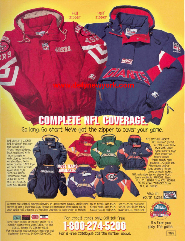 separation shoes 3b51c 6da70 NFL Starter Jackets 1995 – DeFY. New York-Sneakers,Music ...