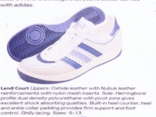Adidas Lendi Court Tennis Shoe 1985