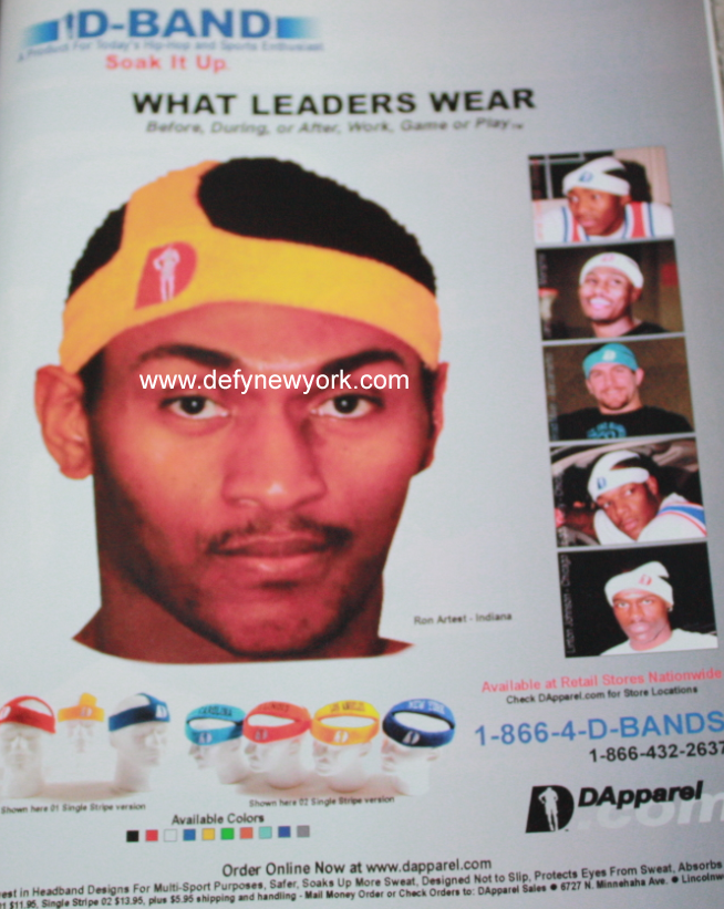 Dapparel D-Band Head Bands Ron Artest 2003   DeFY. New York-Sneakers ... 67ccb66a08d