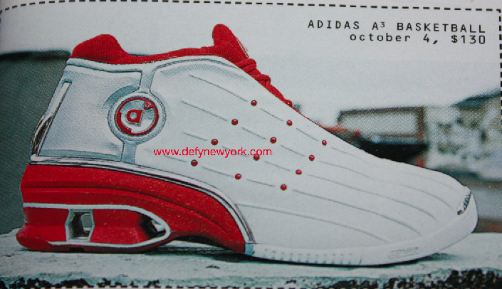 Adidas A3 Basketball Shoe White Red & White And Black 2002
