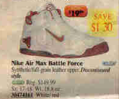 new concept 2414d 38b5f Nike Air Max Battle Force Basketball Shoe 1997