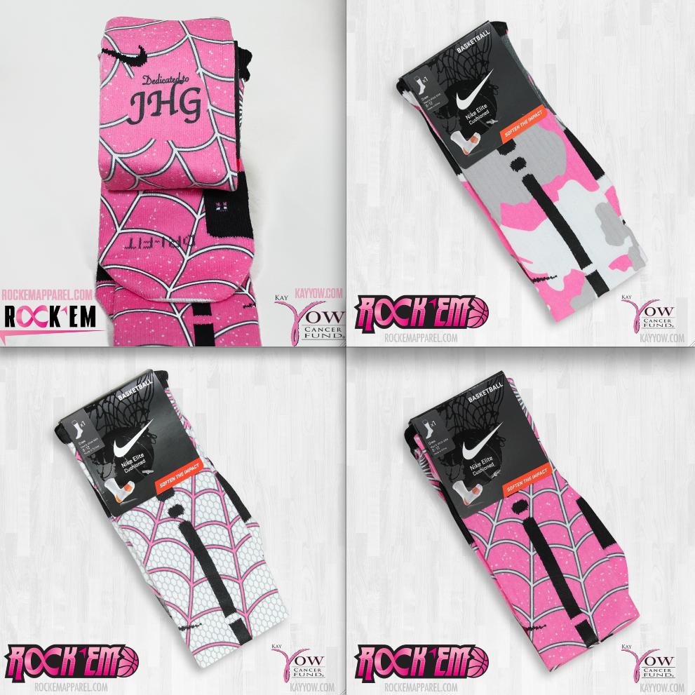 purchase cheap a7e8d cd53e RockEm Apparel Custom Nike Elite Socks Breast Cancer Awareness Pink Campaign