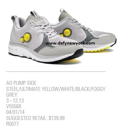 8745cac6650 For 2014 Reebok introduces its AO (Air Out) Pump Side an updated version of Reebok s  dual pump runner. Release date is scheduled for 4 1 2014 at 139.99.