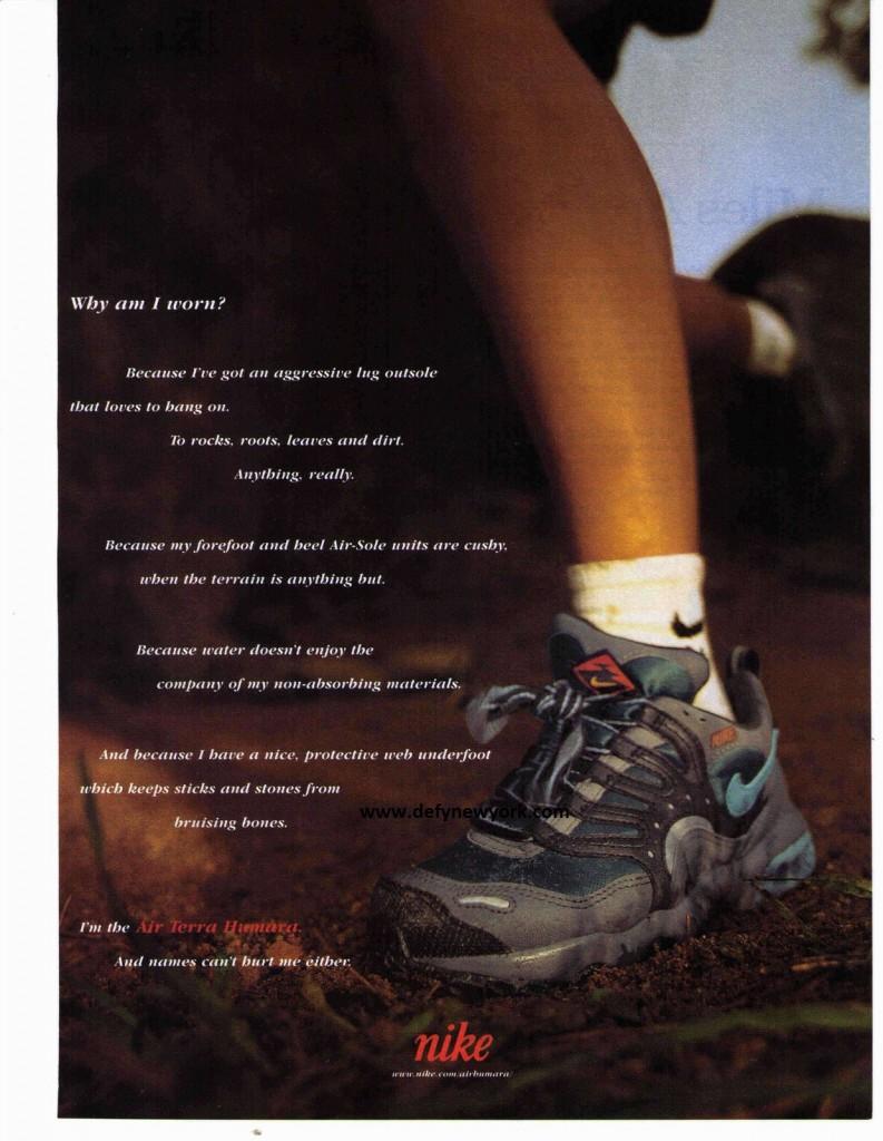 1998 Nike 'Why am I Worn Series Air Terra Humara Running Shoe Print Ad