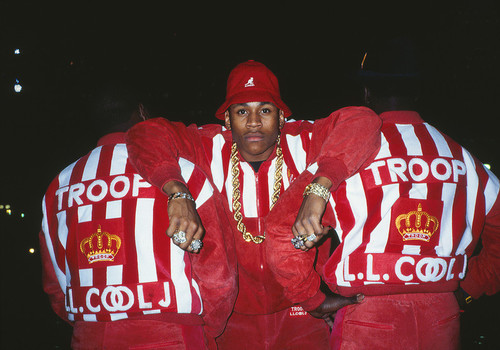 LL Cool J for Troop clothing line shoot, 1988. Ricky Powell was the unofficial Def Jam photographer from 1986–1988, photographing Hip Hop's biggest stars—Run-DMC, the Beastie Boys, and LL Cool J—in their earliest days on the world stage.